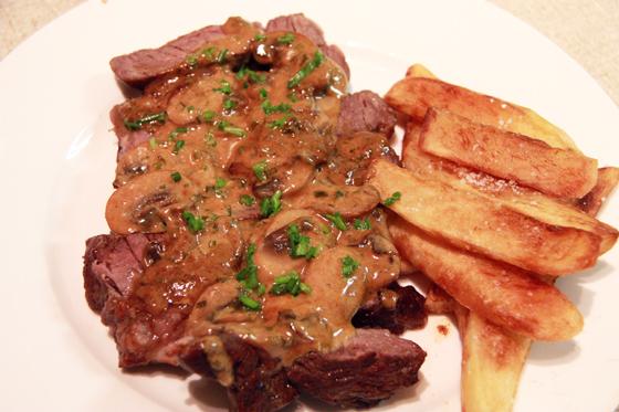 Steak Diane with chips | forque